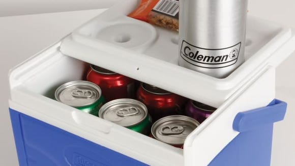 Flip up the top of this cooler to create a makeshift table.