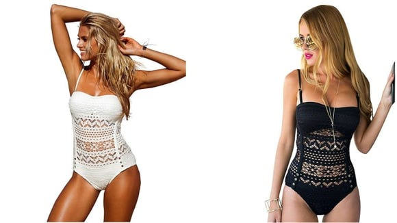Lookbook Store Women's Crochet Lace Halter Swimsuit