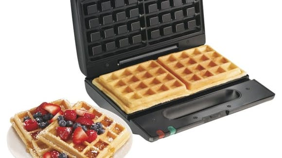 This waffle maker takes up minimal space.