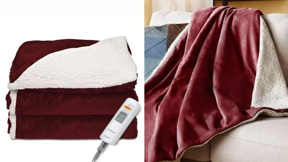 Sunbeam Heated Sherpa Throw Blanket