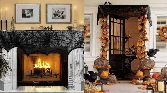 AerWo Black Lace Spiderweb Fireplace Mantle Scarf