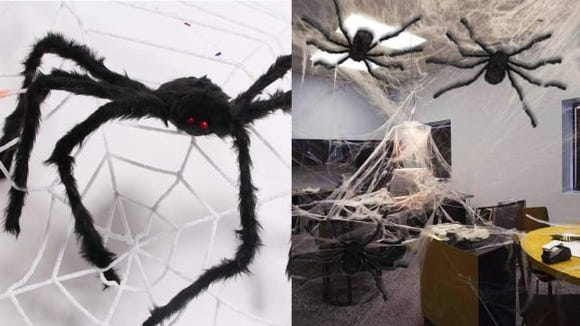 Pose this spider to crawl along your house or dangle from a giant web.