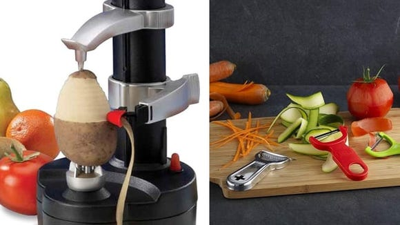 Automatic vegetable peeler vs. hand peeler