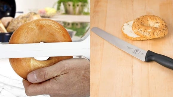 Bagel slicer vs. bread knife