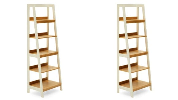 The MoDRN Finna ladder bookshelves hold a lot, but are visually light.