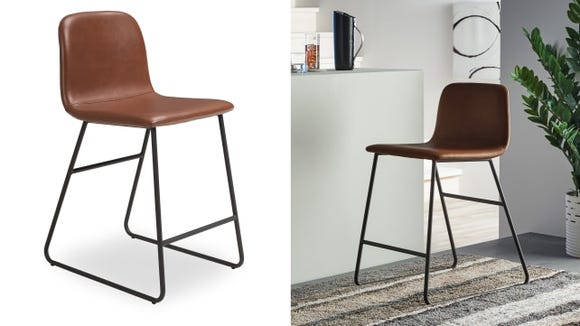 The MoDRN Industrial counter stools look like leather and complement any style kitchen.