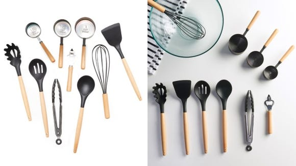 Replace your old kitchen tools with this set of silicone and wood utensils