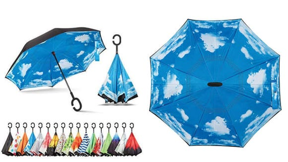 You can close this umbrella without dripping water all over yourself.