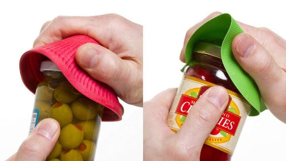 These jar grippers make it easier to open tight lids.