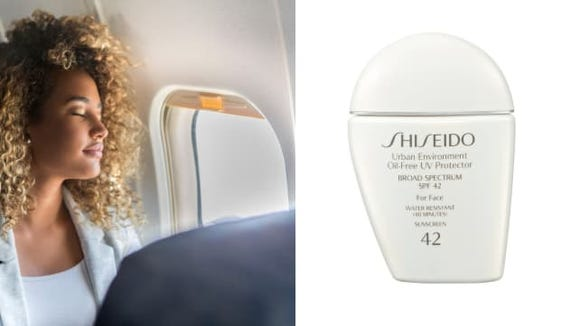 SHISEIDO sunscreen can protect your skin from sun damage while traveling.