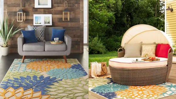 Nathalie Green/Blue Indoor/Outdoor Area Rug