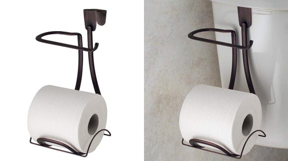 This toilet paper holder is a great space saver.
