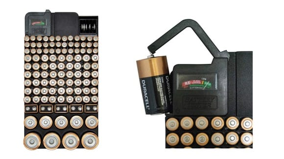 This battery organizer case can hold dozens of batteries of different sizes.