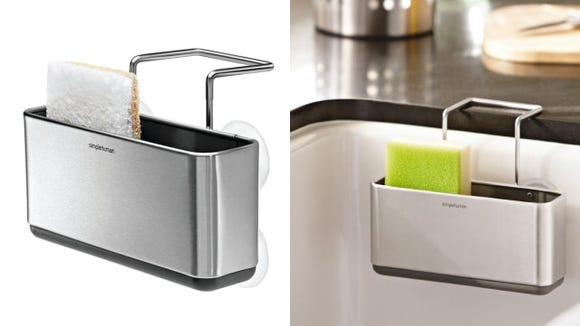 This sponge holder from simplehuman is large enough to hold two sponges.