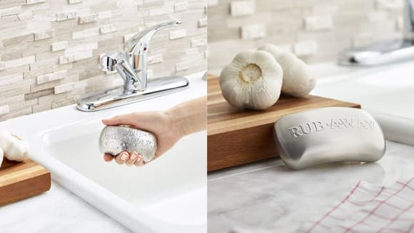 Rub away strong odors with this stainless steel soap.