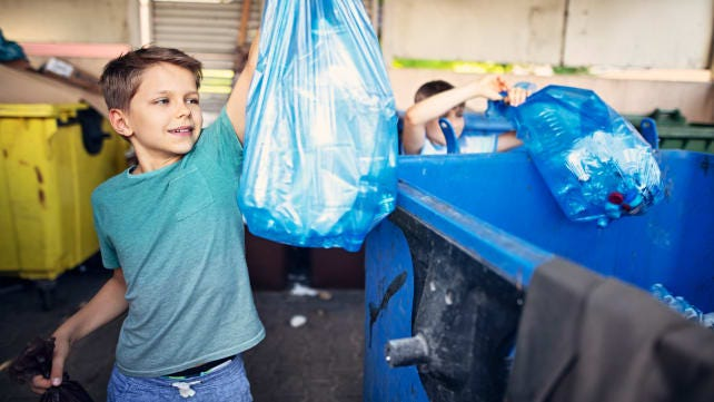 Put your pre-teen on trash duty.