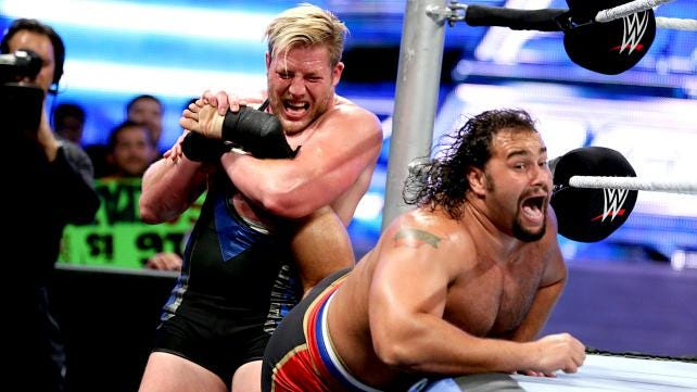 Jack Swagger (left) vs. Rusev is among the matches Saturday for WWE Live at the Mississippi Coliseum.