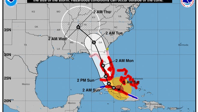 The National Hurricane Center's forecasted track of Hurricane Irma as of Saturday morning.