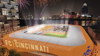 A rendering of Futbol Club Cincinnati's preliminary Major League Soccer stadium design, which was unveiled to supporters Monday, June 12 in Over-the-Rhine.