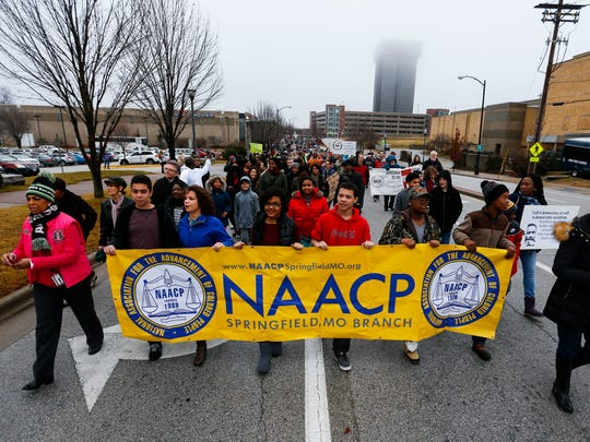 More than a thousand people walked from Mediacom Ice Park, across the Martin Luther King Jr. Bridge and to the Gillioz Theatre as part of the annual Martin Luther King Jr. March and Celebration in downtown Springfield on Monday, Jan. 16, 2017.
