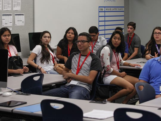 Students in Tom Buck's class during the first day of