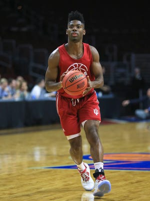 Indiana's Robert Johnson with a brace on his left ankle practices Thursday at the Sweet 16 at the Wells Fargo Center in Philadelphia.