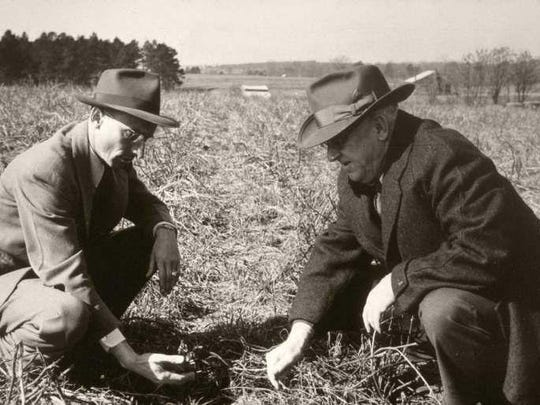 "The ""father of the soil conservation movement"" Hugh Hammond Bennett, at right. Bennett was the first chief of the Soil Conservation Service"