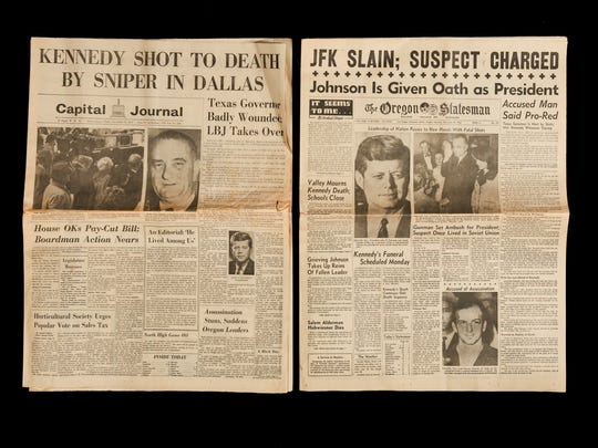 Headlines about the assassination of President John F. Kennedy are among the famous front pages preserved in the archives of the Statesman Journal.