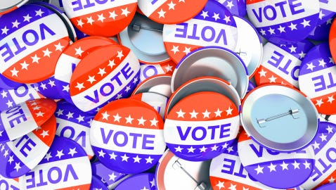 American vote buttons
