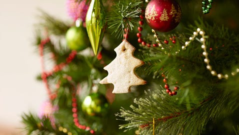 Close up of a Christmas tree.