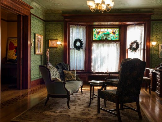 A sitting room on the first floor of the historic Churchville Senator'??s Mansion owned by Chris and Lisa Steubing.