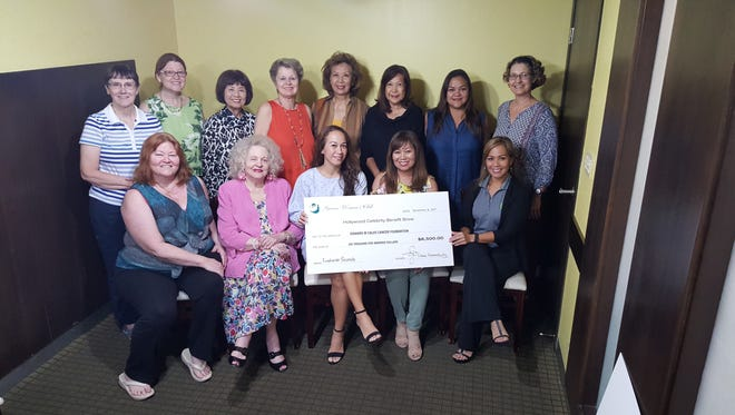 Guam Women's Club presented a check in the amount of $6,500 to the Edward M. Calvo Cancer Foundation. Proceeds raised from GWC's Hollywood Benefit Show held at the Lotte Hotel on October 7, 2017. Pictured seated from left: Cindy Brewer, GWC Member; Rosemarie Cruz, GWC Past President; Jenny Calvo, Edward M. Calvo Cancer Foundation; Leo Jordanou, GWC President; Caroline H. Sablan, GWC Past President. Standing from left: Nancy Weare, GWC Member; MaryLou Wheeler, GWC Member; Mae Cotton, GWC Past President; Donna Kloppenburg, GWC Past President; June Chang, GWC Member; Chet Neri, GWC Past President; Delisa Kloppenburg, GWC Member; Renee Veksler, GWC Secretary.