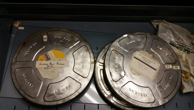 These film canisters, which contained reels of Wisconsin's oldest film, were found in storage at the Green Bay Press-Gazette late last year. They were donated to the Neville Public Museum, which is exploring restoration.