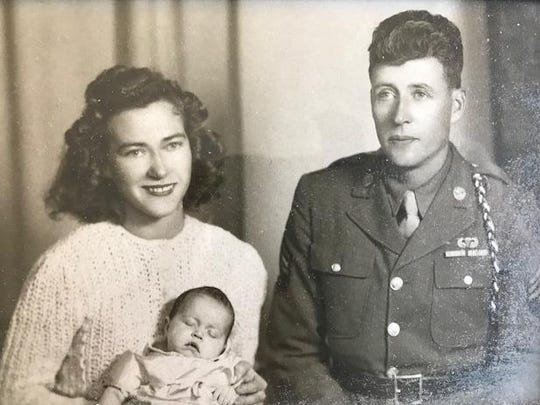 Ida and Harry Deyette with their daughter, Henrietta, about 2 months old. This picture was taken in September 1943 before Harry shipped out to Italy.