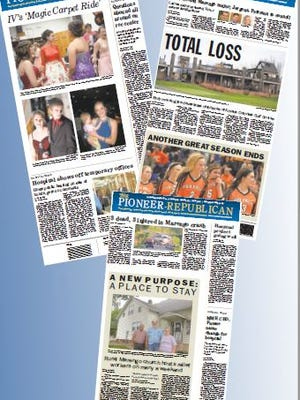 A collection of front pages of the Pioneer-Republican during the past year. The PR won third place in the Iowa Newspaper Association's Better Newspaper Contests for Best Front Page.