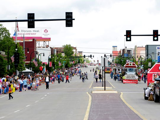 Hundreds lined Main Street during the Dairyfest Parade in Marshfield, June 4, 2016.