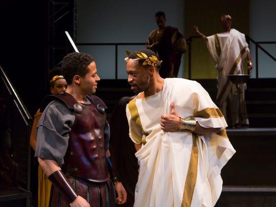 Jonathan-David (right) as Mark Antony and Gabriel Lawrence