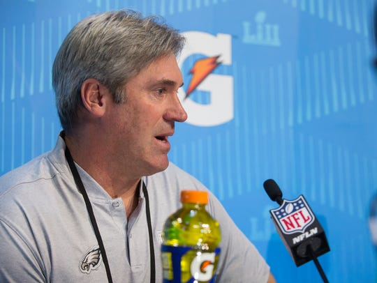 Eagles head coach Doug Pederson takes questions from