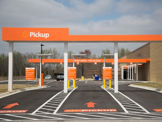 A rendering of the online grocery pickup area at Walmart