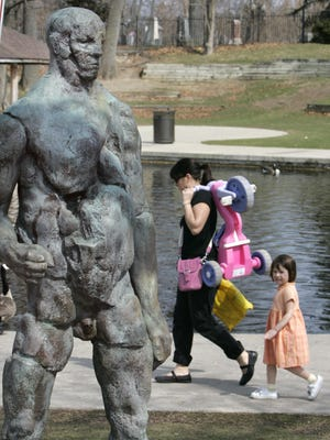 Right: Jay Holland's sculpture was controversial in Brighton.