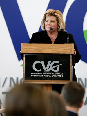 CVG Airport CEO Candace McGraw delivers remarks at the January announcement of Southwest Air beginning flights out of the airport, Wednesday, Jan. 4, 2017. Eight flights, five to Chicago and three to Baltimore, are scheduled to begin June 4, 2017.