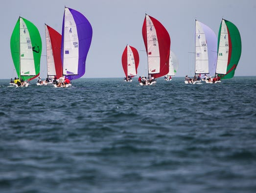 Sailboats compete in the J/70 North American Championship Regatta on Lake Ontario on Sunday, July 20, 2014.