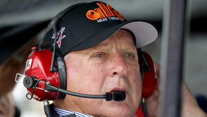 AJ Foyt looks on from his pit box during practice for the Indianapolis 500 Friday, May 19, 2017, afternoon at the Indianapolis Motor Speedway.