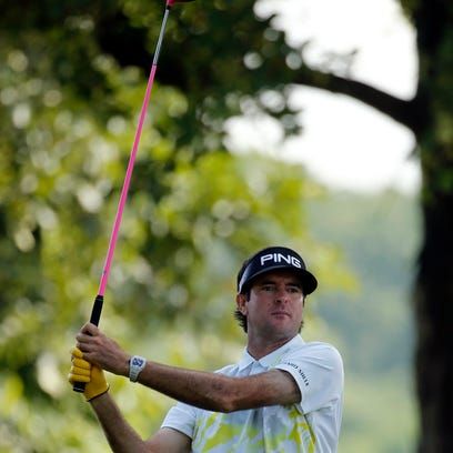 Bubba Watson hits from a sand trap to the 18th green during the second round of the PGA Championship golf tournament at Baltusrol Golf Club in Springfield, N.J., Friday, July 29, 2016. (AP Photo/Tony Gutierrez)