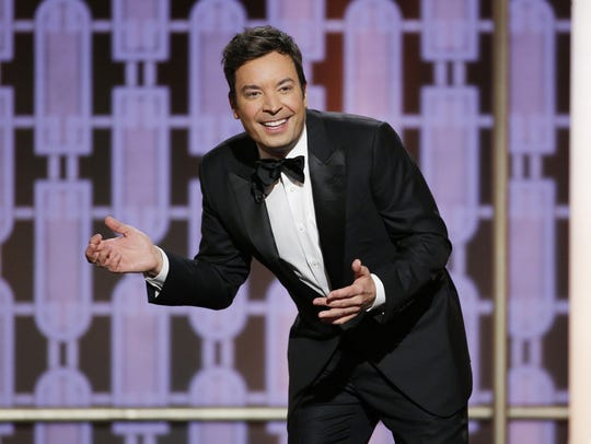 Host Jimmy Fallon gets animated during the 74th annual