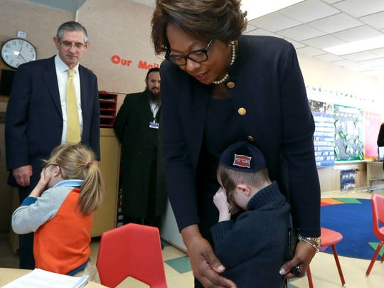 East Ramapo schools Superintendent Deborah Wortham comforts a shy student during a visit to a Yiddish bilingual special-education program at Elmwood Elementary School. Peter Carr/The Journal News East Ramapo Schools Superintendent Dr. Deborah Wortham comforts a shy student during a visit to a Yiddish bilingual special education program at Elmwood Elementary School in Monsey Feb. 16, 2017.