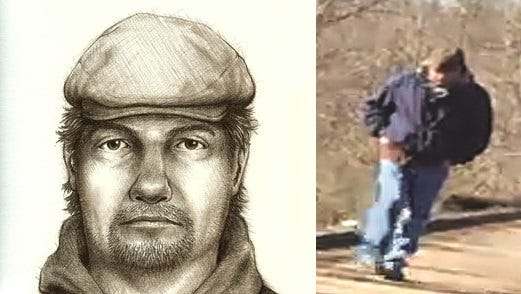 A sketch of Delphi's double homicide suspect compared to an image captured by 14-year-old Liberty German's cellphone.