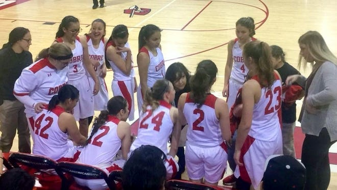 The Cobre High girls' basketball team sets up a play during action against Socorro on Friday night.