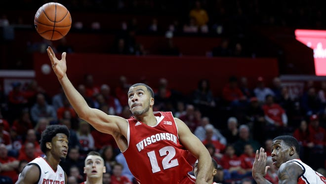 Wisconsin guard Traevon Jackson (12) shoots during the first half of Sunday night's game against Rutgers in Piscataway, N.J.