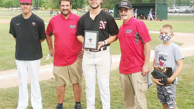 Newton Rebel Lincoln Andrews, center, was named the Carl Hodges Most Valuable Player for the Rebels for the 2020 season. Andrews is flanked by Rebels field manager Brett Clark, general manager Mark Carvalho, team founder Carl Hodges and Hodges' grandson, Blake Alexander. Andrews is a freshman at Southeast Missouri State and is a native of Cañon City, Colo. Andrews batted .400 this season with 48 hits, including 13 doubles, a triple and seven home runs. He drove in 35 runs. Coming into the final game of the season, Andrews is tied for second in the Sunflower Collegiate League in batting average, tied for third in home runs and leads the league in RBIs.